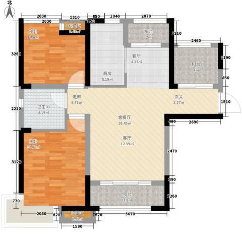 泰达风景2室1厅1卫1厨84.00㎡户型图