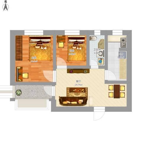 玉桥南里2室1厅1卫1厨63.00㎡户型图