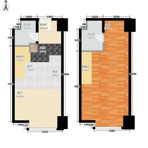 海信・龙奥九号1室1厅2卫0厨88.14㎡户型图