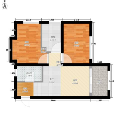 罗马公元2室1厅1卫1厨47.00㎡户型图