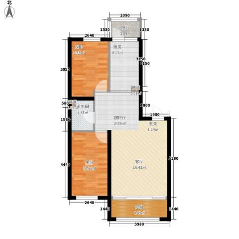 罗马公元2室1厅1卫1厨70.00㎡户型图