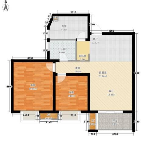 栖霞瑜憬湾2室0厅1卫1厨90.00㎡户型图