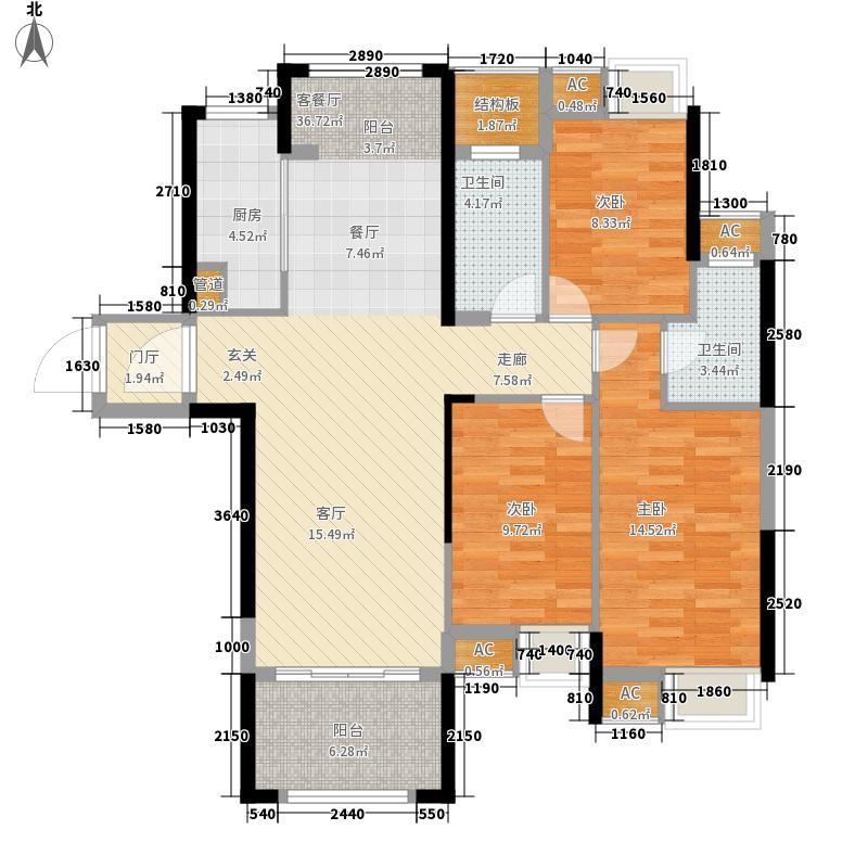 九颂山河博园17.87㎡E1户型3室2厅2卫