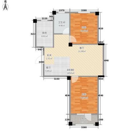 澳海澜庭2室0厅1卫1厨74.00㎡户型图
