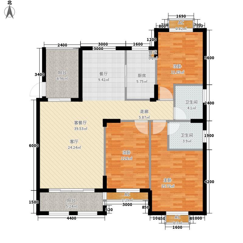 大学里三期126.00㎡3期18C栋白鹭水榭户型3室2厅2卫1厨