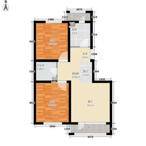 香槟蓝郡2室1厅1卫1厨86.00㎡户型图