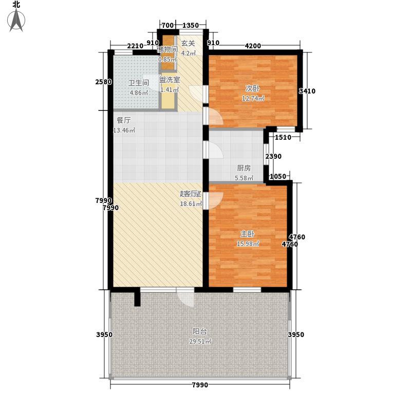 乐成国际1号楼首层I户型2室2厅1卫1厨