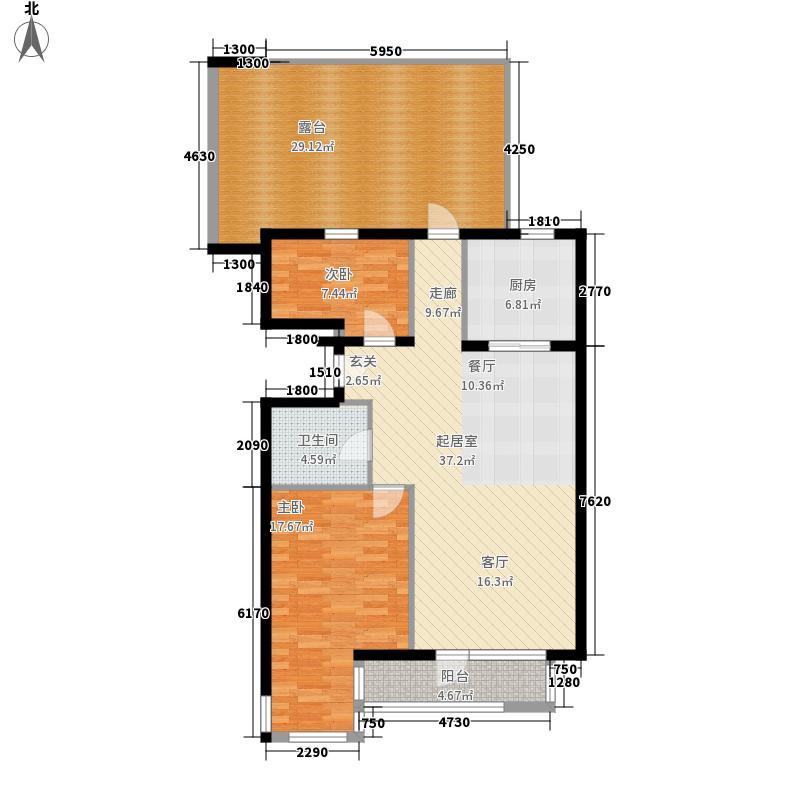 乐成国际5号楼标准层J户型2室2厅1卫1厨
