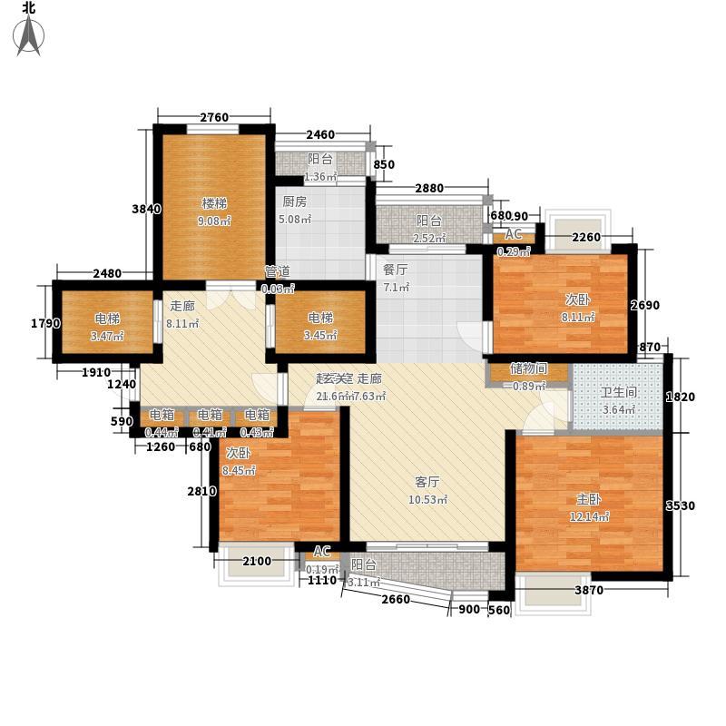 绿地东上海117.00㎡1号楼标准层户型