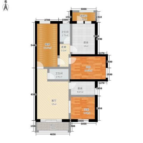 嘉业景园2室1厅2卫2厨122.00㎡户型图