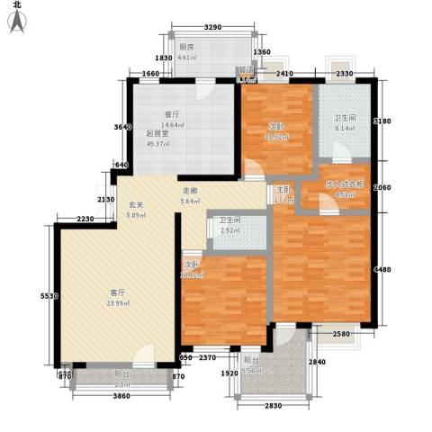 天伦随园公寓3室0厅2卫1厨134.00㎡户型图
