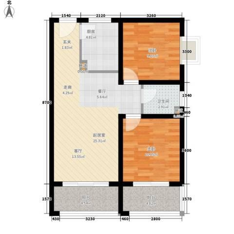 CLASS国际公馆2室0厅1卫1厨86.00㎡户型图