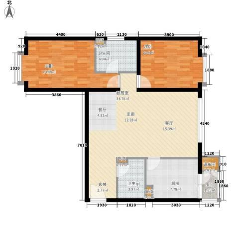 古新巷小区2室0厅2卫1厨91.29㎡户型图
