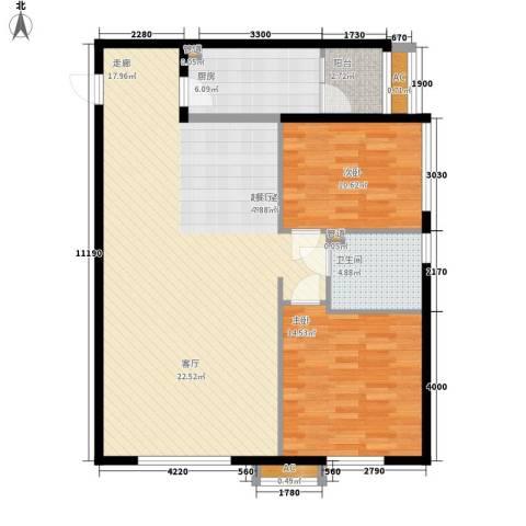 观筑金洋国际2室0厅1卫1厨99.00㎡户型图