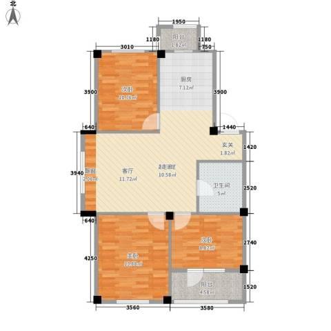 澳海澜庭3室0厅1卫0厨82.00㎡户型图