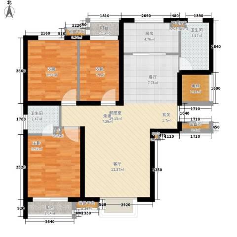 龙首村小区3室0厅2卫1厨85.00㎡户型图