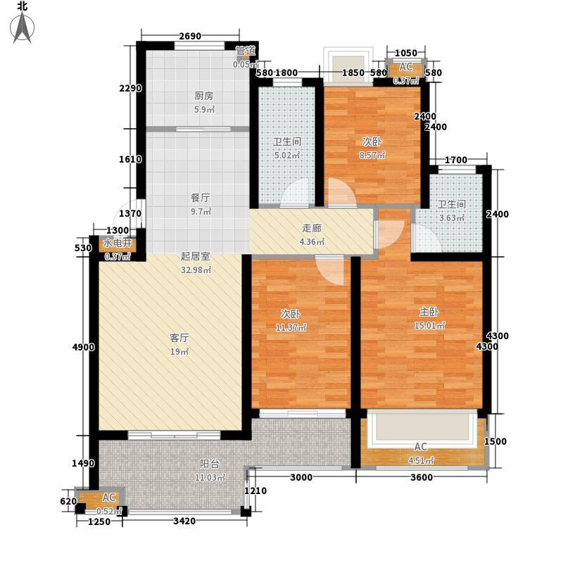 上投华城四期11.00㎡B2户型3室2厅1厨