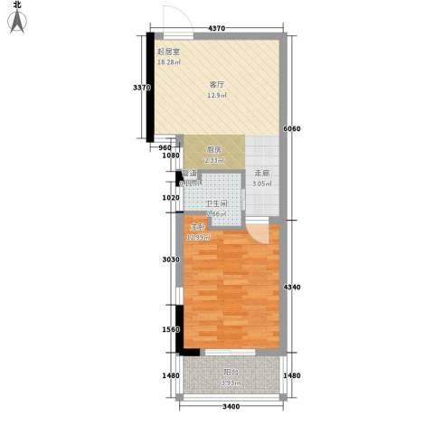 前城优乐1室0厅1卫0厨44.00㎡户型图