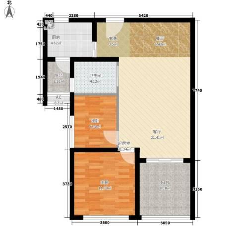 前城优乐2室0厅1卫1厨99.00㎡户型图