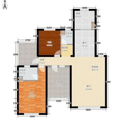 天格东湖湾2室0厅2卫1厨157.00㎡户型图