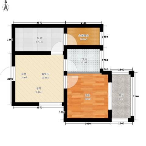 汇泽・蓝海湾1室1厅1卫1厨47.00㎡户型图