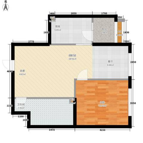 观筑金洋国际1室0厅1卫1厨93.00㎡户型图