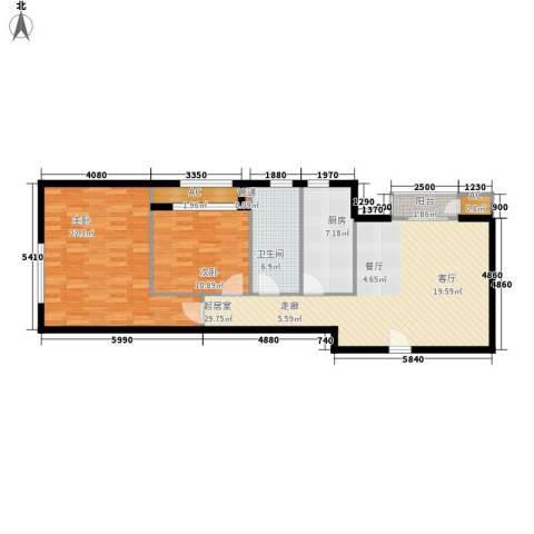 西美花城2室0厅1卫1厨92.00㎡户型图