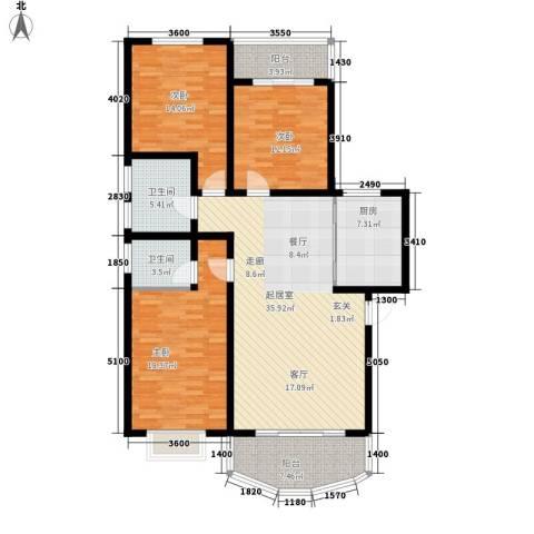 古新巷小区3室0厅2卫1厨123.30㎡户型图