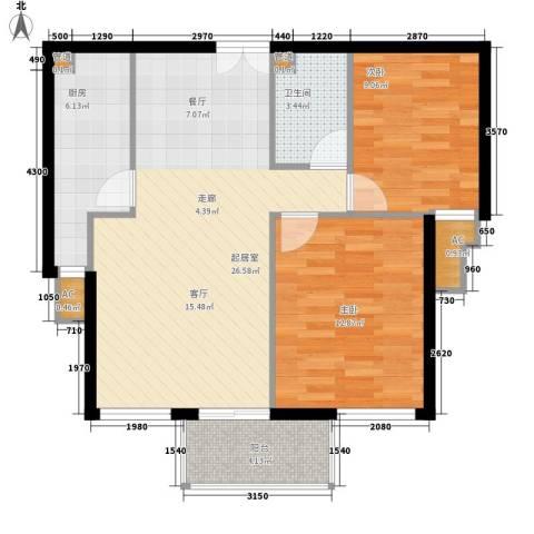 西美花城2室0厅1卫1厨88.00㎡户型图