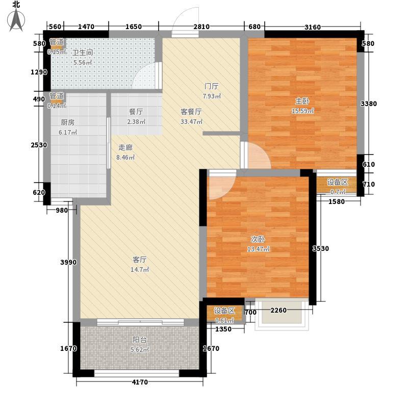 泰达风景93.10㎡14、15、17、25号楼标准层H2户型