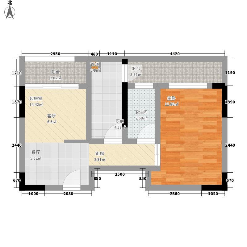星河国际50.98㎡6号户型1室2厅1卫1厨