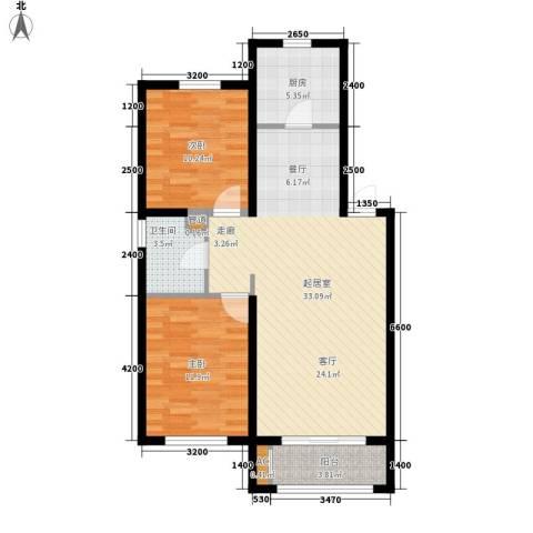 天格东湖湾2室0厅1卫1厨97.00㎡户型图