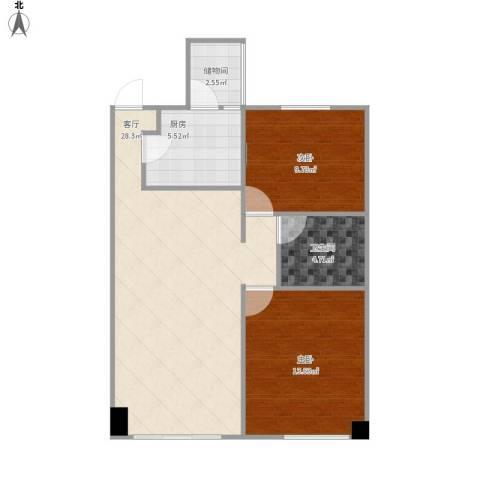 金地西沣公元2室1厅1卫1厨87.00㎡户型图