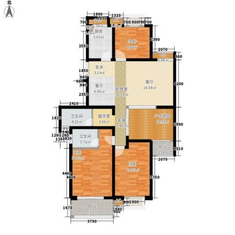 栖霞瑜憬湾3室0厅2卫1厨138.00㎡户型图
