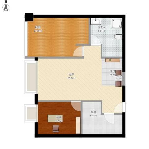 昆仑中心1室1厅1卫1厨86.00㎡户型图