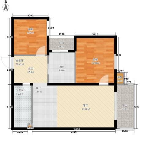 义和庄北里2室1厅1卫1厨99.00㎡户型图