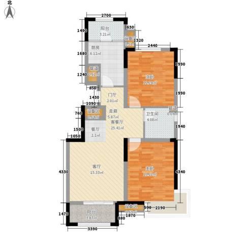 泰达风景2室1厅1卫1厨89.00㎡户型图