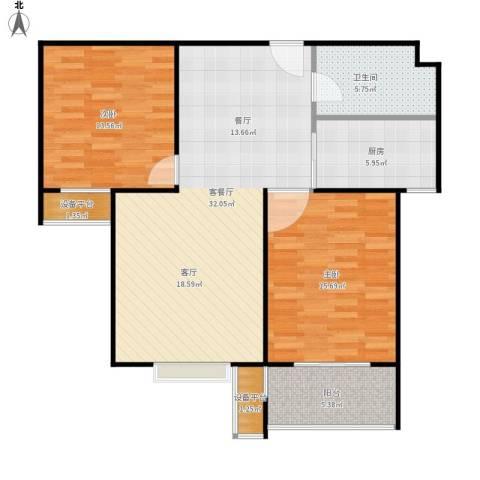 盛和嘉园2室1厅1卫1厨109.00㎡户型图