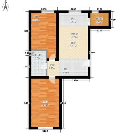 省机住宅2室0厅1卫0厨74.00㎡户型图