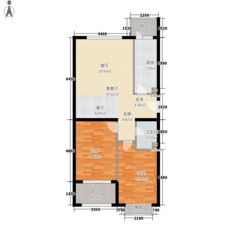 上上城青年新城2室1厅1卫1厨90.00㎡户型图