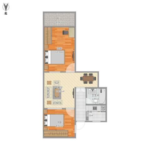 安龙大楼2室1厅1卫1厨68.00㎡户型图