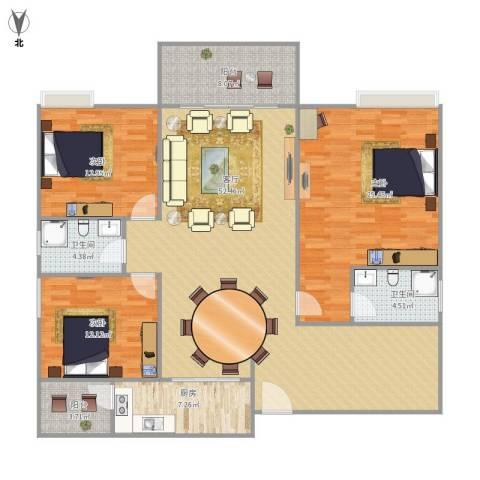 远洋城荣域3室1厅2卫1厨175.00㎡户型图
