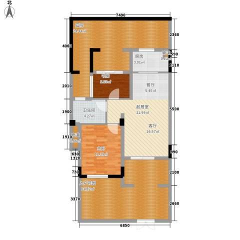 翡翠岭2室0厅1卫1厨96.65㎡户型图