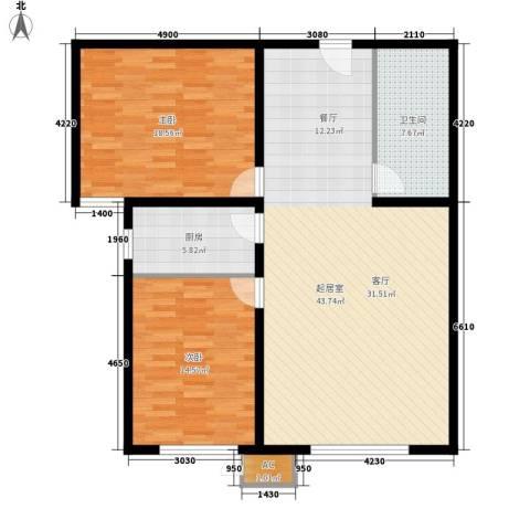 西美花城2室0厅1卫1厨101.00㎡户型图