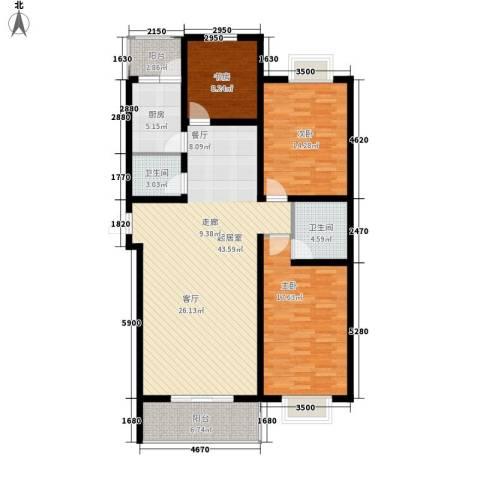 碧水蓝湾3室0厅2卫1厨121.00㎡户型图