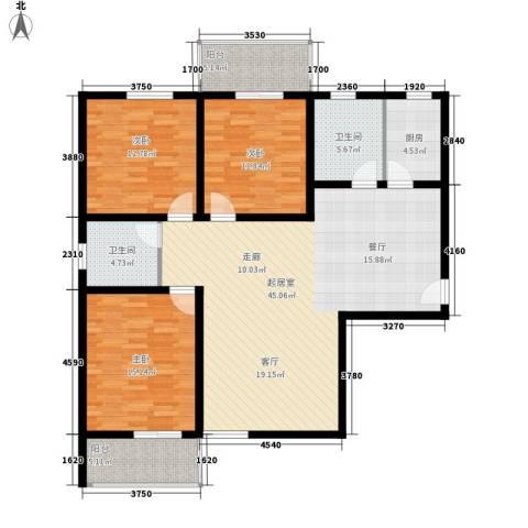 碧水蓝湾3室0厅2卫1厨124.00㎡户型图