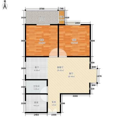 十堰里2室1厅1卫1厨92.00㎡户型图