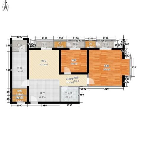 西美花城2室0厅1卫1厨93.00㎡户型图