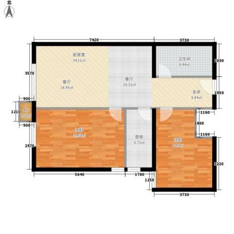西美花城2室0厅1卫1厨90.00㎡户型图