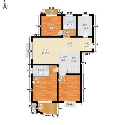 杉林新月家园3室0厅2卫1厨119.00㎡户型图